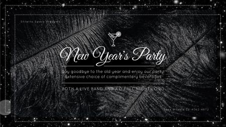 New Year's Party Invitation Black Feathers and Falling Confetti Full HD video Tasarım Şablonu