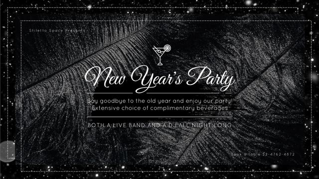 New Year's Party Invitation Black Feathers and Falling Confetti Full HD video Design Template