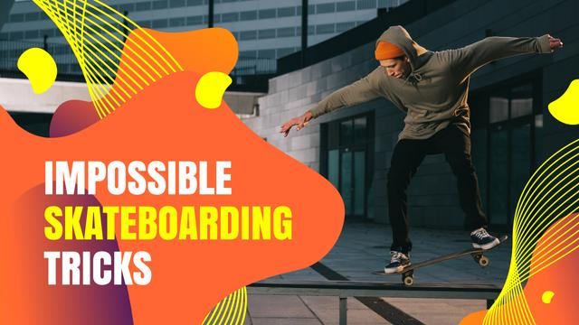 Designvorlage Young Man Riding Skateboard für Youtube Thumbnail