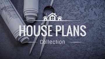 House plans collection banner with blueprints