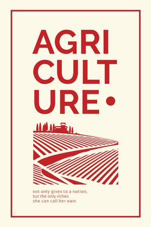 Agricultural illustration with Quote Pinterest Design Template