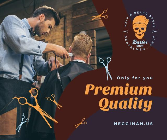 Client at professional barbershop Facebook Modelo de Design