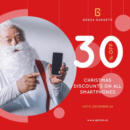 Template di design Christmas Discount Santa Holding Smartphone Instagram