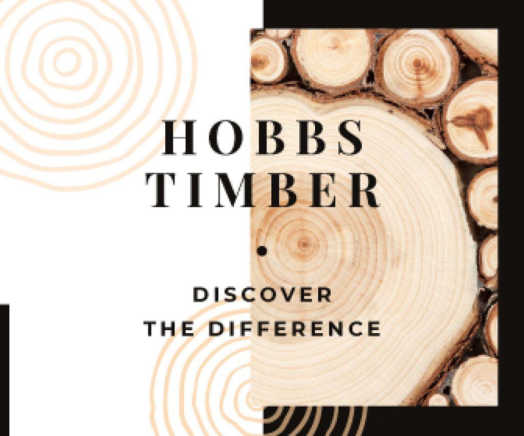 Plantilla de diseño de Timber Ad Pile of Wooden Logs Large Rectangle
