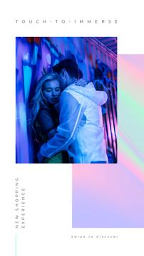 Shop Ad with Stylish Couple hugging on neon lights