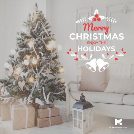 Merry Christmas tree and gifts at home Instagram AD – шаблон для дизайна