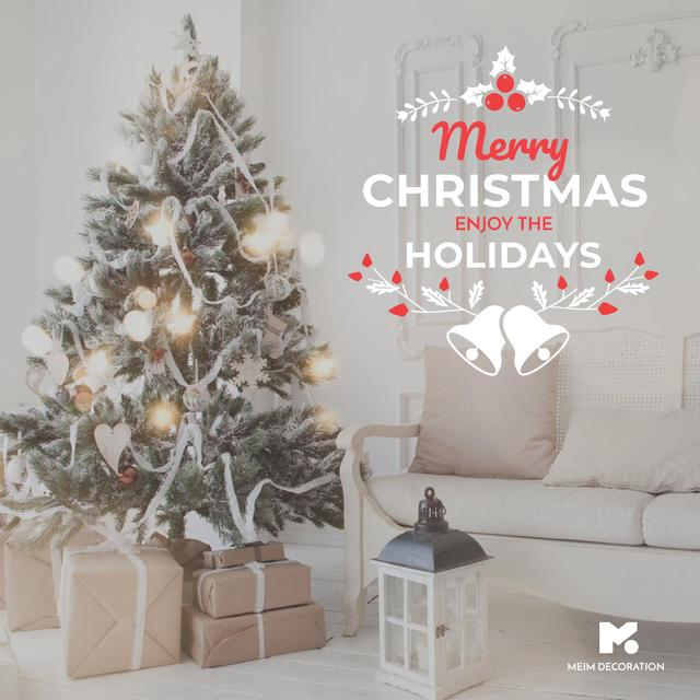 Merry Christmas tree and gifts at home Instagram AD Modelo de Design