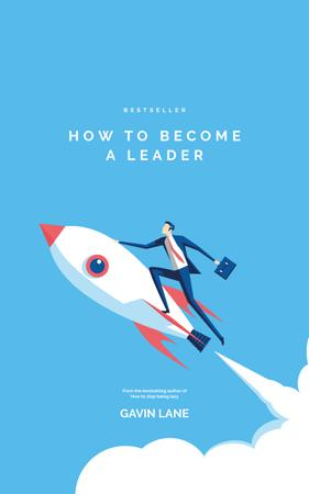 Leader Businessman Flying on a Rocket Book Cover – шаблон для дизайна