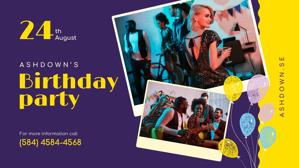 Birthday Party invitation with People Celebrating — Créer un visuel