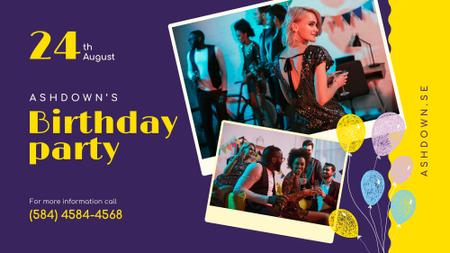 Template di design Birthday Party invitation with People Celebrating FB event cover