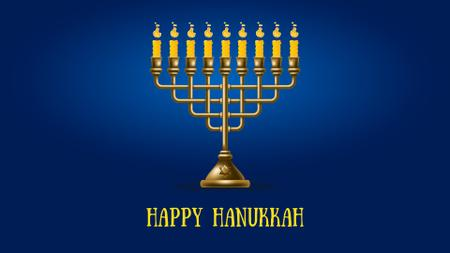 Happy Hanukkah Menorah on Blue Full HD video Modelo de Design