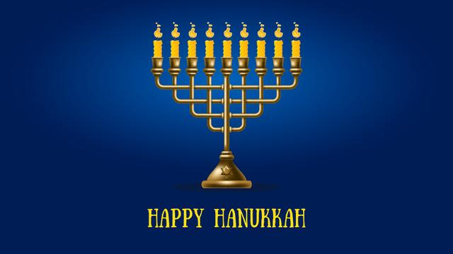 Ontwerpsjabloon van Full HD video van Happy Hanukkah Menorah on Blue