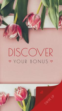 Florist services Tulips Frame in Pink Instagram Story Modelo de Design