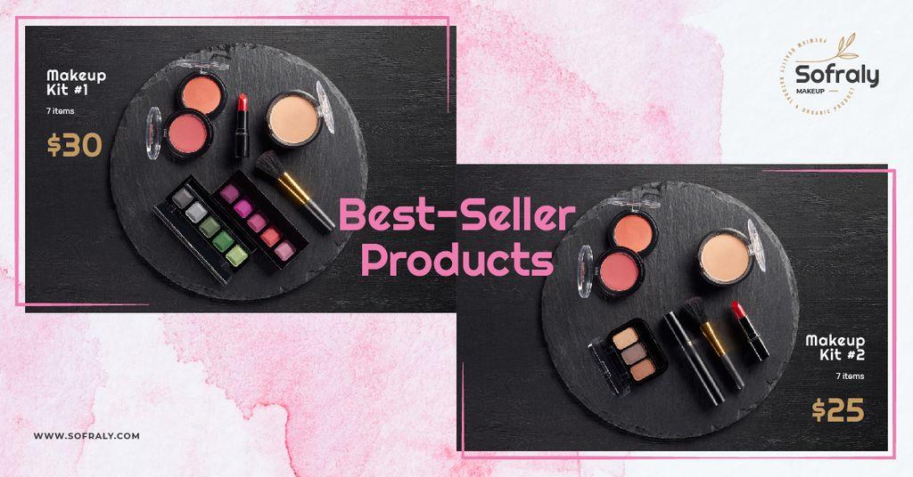 Cosmetics Ad Makeup Products Set Facebook AD Design Template