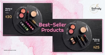 Plantilla de diseño de Cosmetics Ad Makeup Products Set Facebook AD