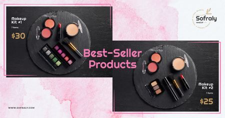 Cosmetics Ad Makeup Products Set Facebook AD Modelo de Design