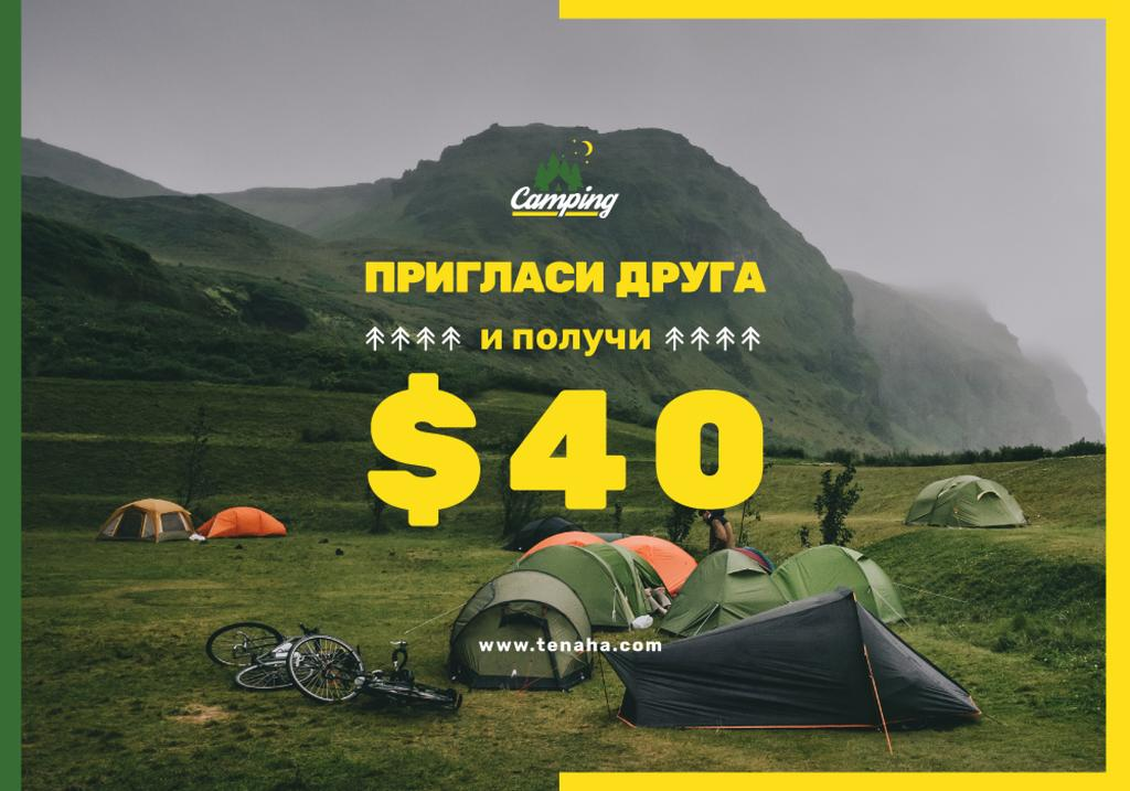 Camping Tour Offer Tents in Mountains | VK Universal Post — Modelo de projeto