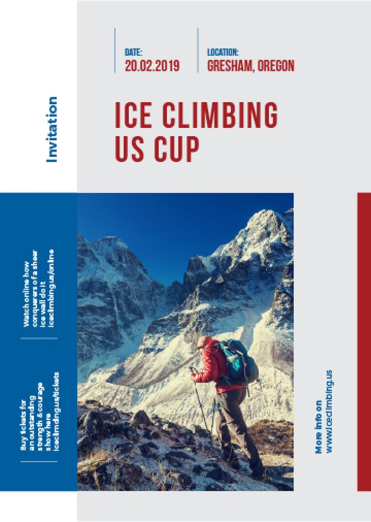 invitation to ice climbing up cup — Створити дизайн