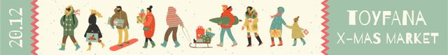 Plantilla de diseño de Christmas Market Invitation People Shopping Leaderboard