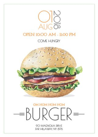 Ontwerpsjabloon van Invitation van Fast Food Offer with Tasty Burger