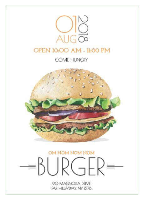 Fast Food Offer with Tasty Burger Invitation Tasarım Şablonu