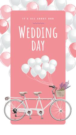 Wedding Tandem bicycle decorated with Balloons Instagram Story Modelo de Design