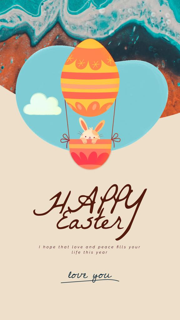Easter Greeting Bunny on Air Balloon — Créer un visuel
