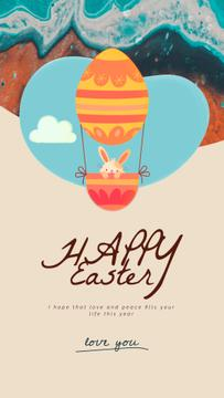 Easter Greeting Cute Bunny on Air Balloon