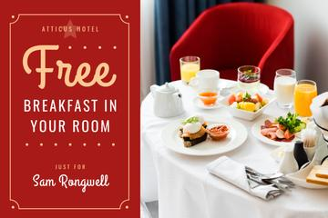 Hotel Breakfast Offer in White and Red | Gift Certificate Template