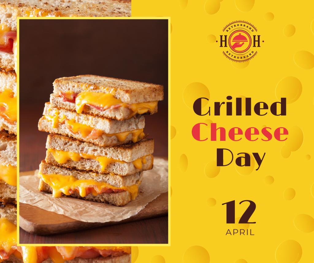Ontwerpsjabloon van Facebook van Grilled cheese day celebration
