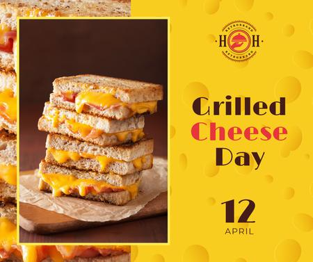 Ontwerpsjabloon van Facebook van Grilled cheese day celebration