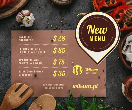 Restaurant Menu Promotion Cooking Ingredients Facebook Modelo de Design
