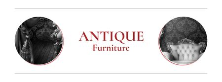 Antique Furniture Auction with armchair Facebook cover – шаблон для дизайну