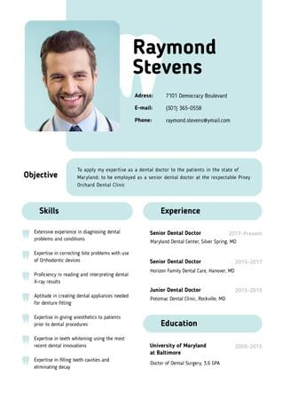 Dental Doctor skills and experience Resume Modelo de Design