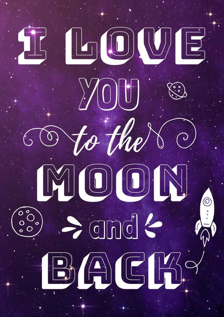 Motivational Love Quote on Night Sky | Poster Template — Créer un visuel