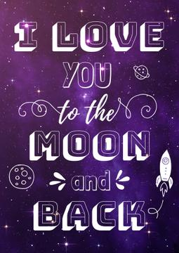 Motivational Love Quote on Night Sky | Poster Template