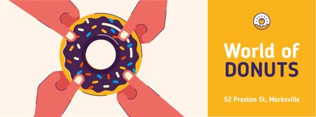 People pulling sweet donut Facebook Video cover Design Template
