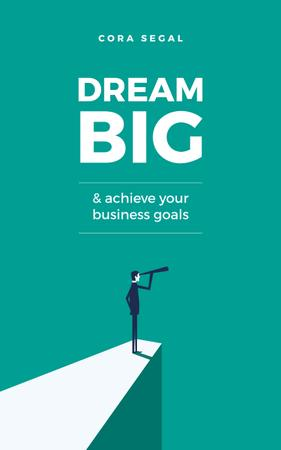Ontwerpsjabloon van Book Cover van Business Goals Man on Cliff with Spyglass