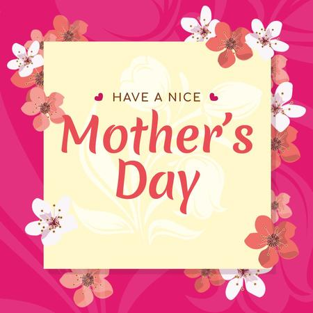 Ontwerpsjabloon van Instagram van Mother's Day Greeting Frame with Cherry Flowers