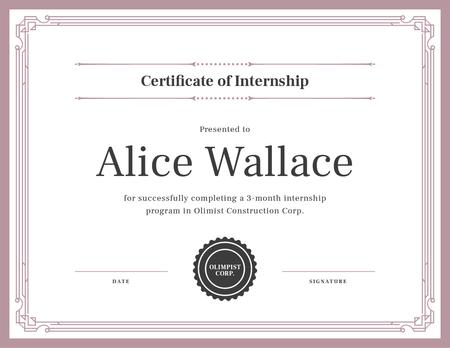Construction Company internship completion Certificate Modelo de Design