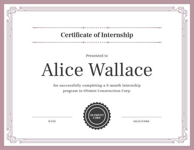 Construction Company internship completion Certificateデザインテンプレート