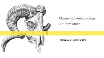 Museum invitation with animal Skull