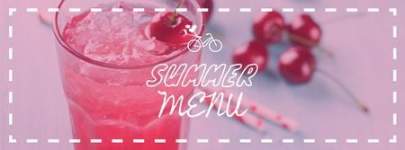 Plantilla de diseño de Summer Drink with Red Cherries Facebook cover