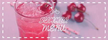 Summer Drink with Red Cherries Facebook cover Modelo de Design