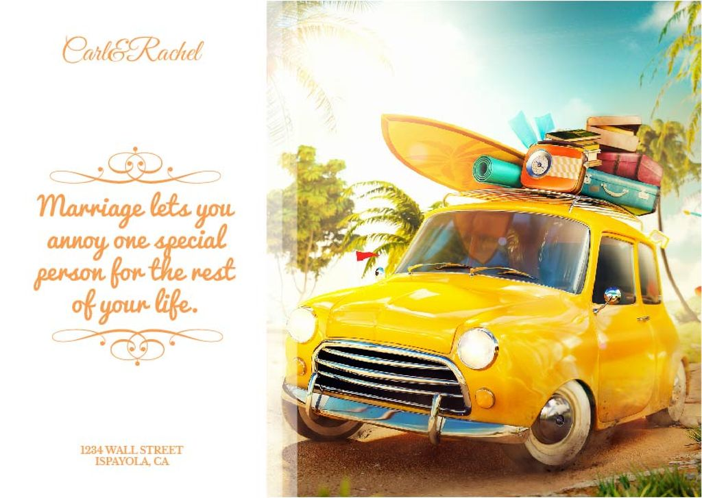 Wedding Invitation Quote with Car and Suitcases Postcard Design Template