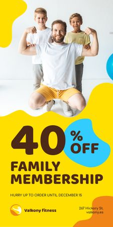 Family Membership in Gym Offer Dad with Kids Graphic Modelo de Design