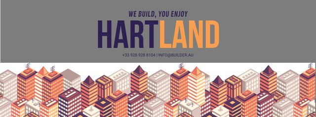 Real Estate Ad with Modern Buildings Facebook cover Design Template