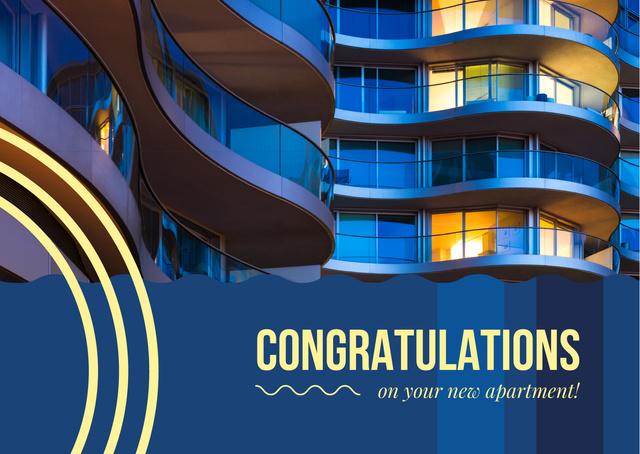 Real Estate Ad with Glass Building in Blue Postcard Tasarım Şablonu