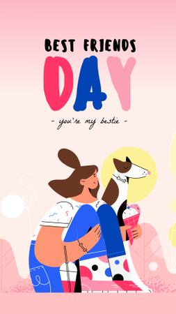 Best Friends Day Girl and Dog Eating Ice-Cream Instagram Video Story Design Template