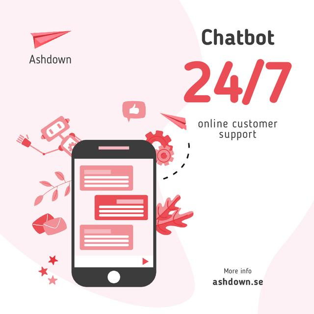 Online Customers Support Chat on Phone Screen Animated Postデザインテンプレート